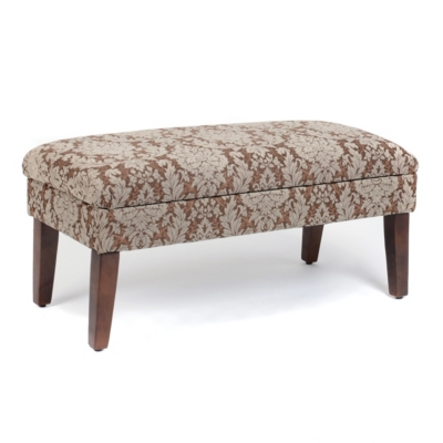 Brown & Blue Damask Storage Bench
