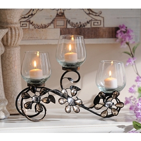 Jeweled Flower Votive Runner