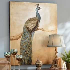Peacock Perch Canvas Art Print