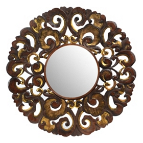 Nuri Handcrafted Wood Mirror