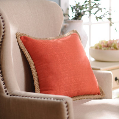 Orange Jute Linen Pillow