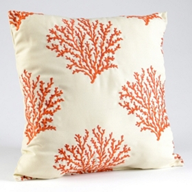 Orange & Cream Coral Embroidery Pillow
