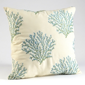 Blue & Cream Coral Embroidery Pillow
