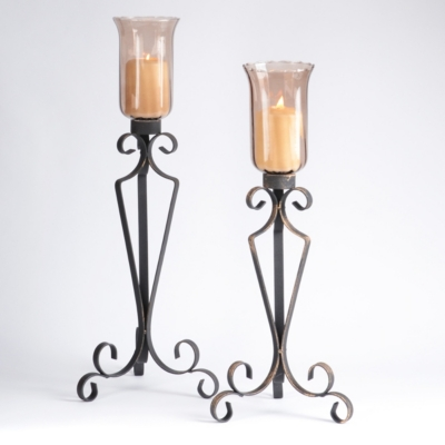 Mocha Glass & Metal Candle Holder, Set of 2