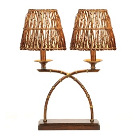 Rattan Dual Table Lamp