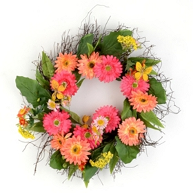 Gerber Daisy Wreath with Butterflies
