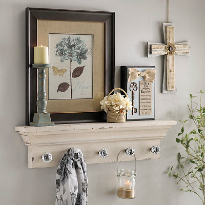 Distressed Cream Ledge with Crystal Knobs