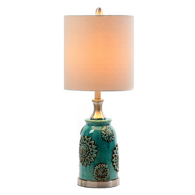 Tuquoise Ceramic Sunflower Table Lamp
