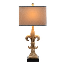 Faux Stone Fleur-de-Lis Table Lamp