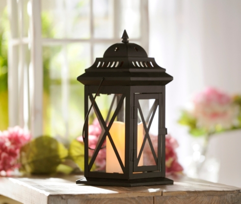 Black Metal Lantern with LED Candle, 12 in.