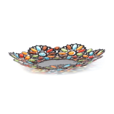 Jeweled Metal Bowl