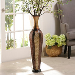Sectioned Metal Floor Vase