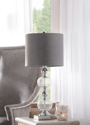 Smoke Glass & Chrome Table Lamp