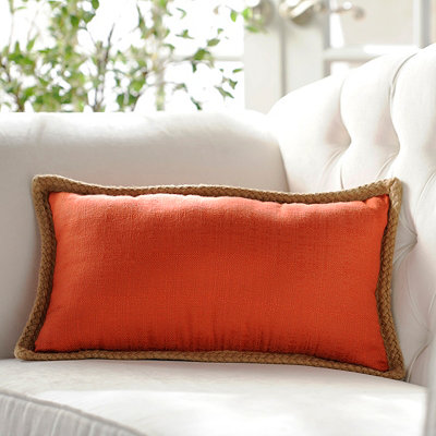 Orange Jute Linen Pillow, 24x14