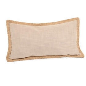 Taupe Jute Linen Pillow, 24x14