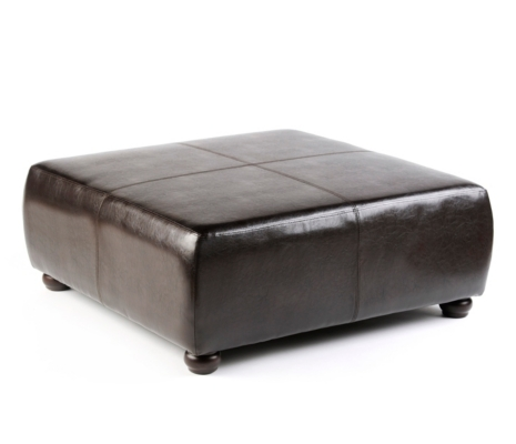 Chocolate Faux Leather Ottoman