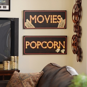 Movies & Popcorn LED Canvas Art Print