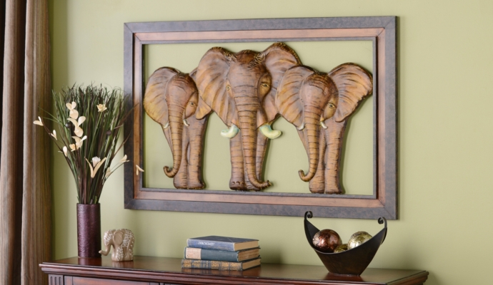 Elephants Marching Metal Wall Plaque