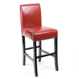Red Bonded Leather Counter Stool