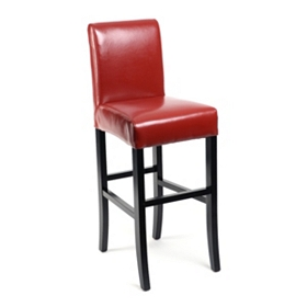 Red Bonded Leather Bar Stool