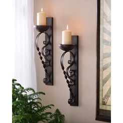 Brown Twisted Pillar Sconce, Set of 2