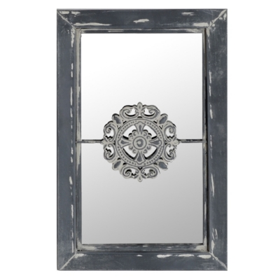 Graywash Mirror with Medallion, 10x16