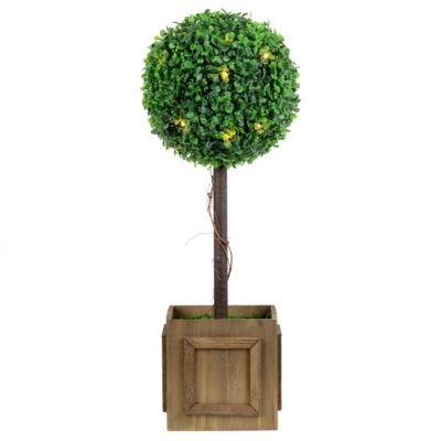 Pre-Lit Boxwood Topiary, 23 in.