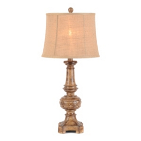 Rustic Honey & Burlap Table Lamp