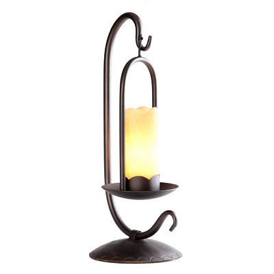 Onyx Iron Lantern-Style Table Lamp