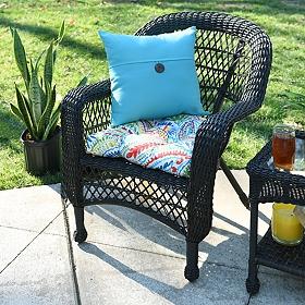 Aqua Coconut Button Outdoor Pillow