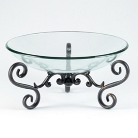 Round Glass Bowl with Metal Stand