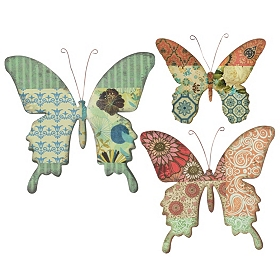 Botanic Butterfly Wall Plaque, Set of 3