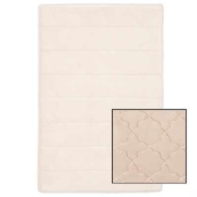 Reversible White & Tan Memory Foam Bath Mat