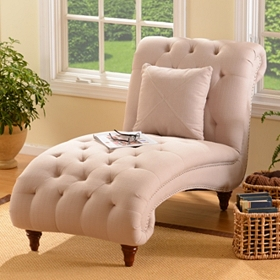 Tufted Linen Chaise Lounge