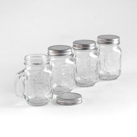 Mason Jar Glass Mug, Set of 4