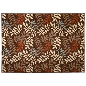 Chester Leaves Brown Area Rug, 5x7