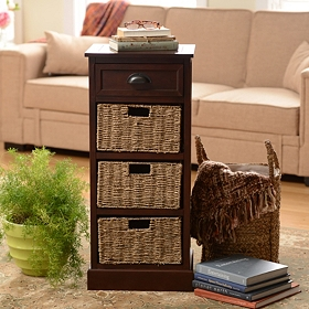 Brown 4-Drawer Storage Chest