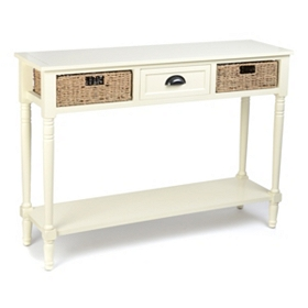 Cream Storage Console Table
