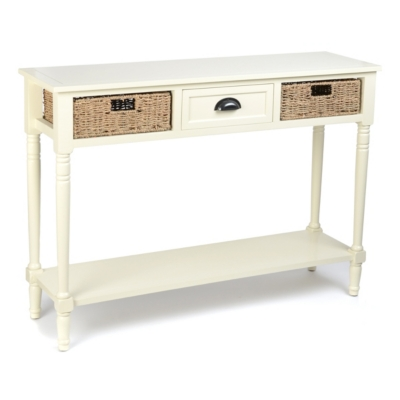 Cream Storage Console Table