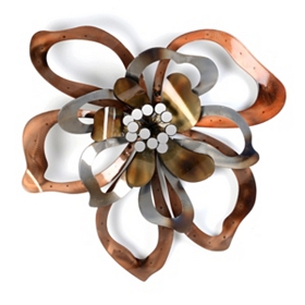 Metallic Flower Petal Metal Wall Art