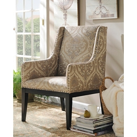 Taupe Damask Sargon Arm Chair