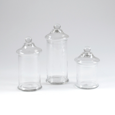 Clear Glass Apothecary Jar, Set of 3