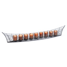 Metal Boat Runner With Votives