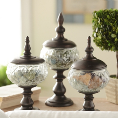Pedestal Glass Jar, Set of 3