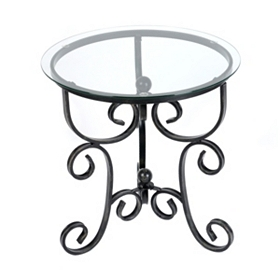Scroll & Knob Glass Top Accent Table
