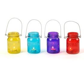 Colorful Mason Jar Candle Holder