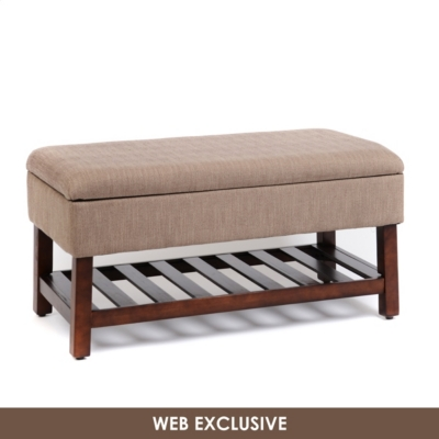 Tan Herringbone Storage Cocktail Bench