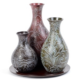 Jeweled Vine Ceramic Vase, Set of 3
