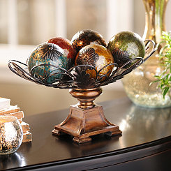 Acanthus Crackle Glass Orb Bowl Set