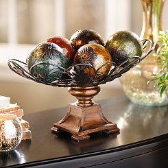 Acanthus Crackle Glass Orb Bowl Set